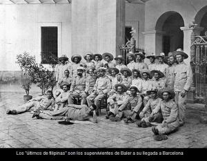 Los últimos de Filipinas a su llegada a Barcelona tras la capitulación