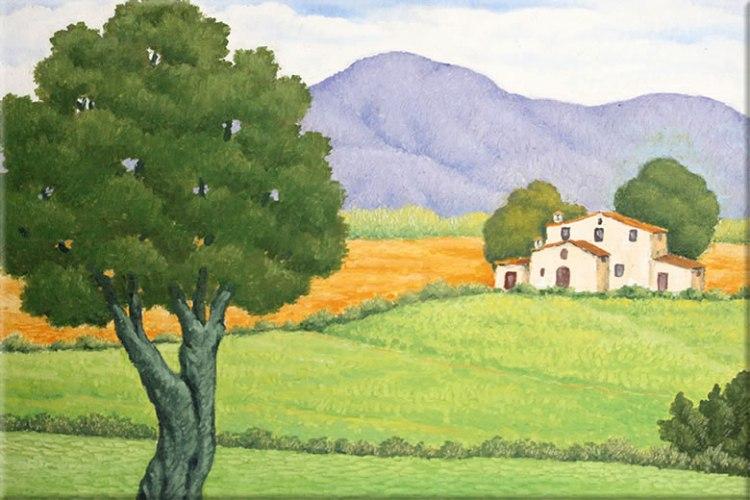 Cuadro de Lluis Puig Barella de un paisaje de Ampurdán, tan presente en la obra de Pla