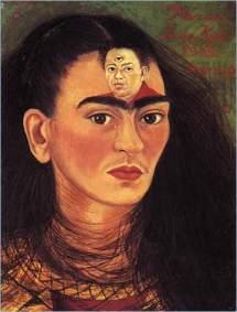 Un autorretrato de la pintora mexicana con la cabeza de Diego Rivera siempre en su mente