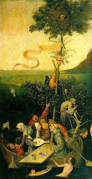 Cuadro de La nave de los locos, pintado por El Bosco entre 1503-1504