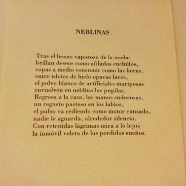 Uno de los poemas de María José incluidos en postales