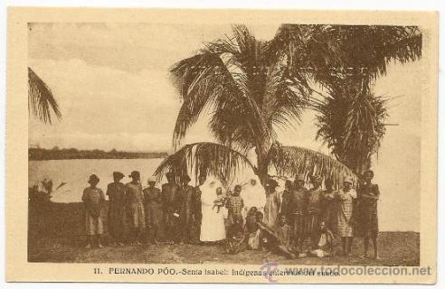 Estampa donde se ve la isla de Santa Isabel con una palmera, símbolo de la novela de Luz Gabás