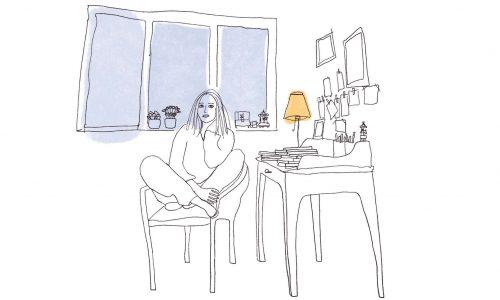 Debuxo de Berta Dávila sobre si mesma